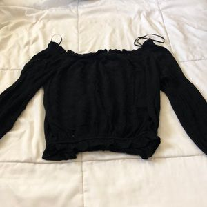 Black off to shoulder long sleeve